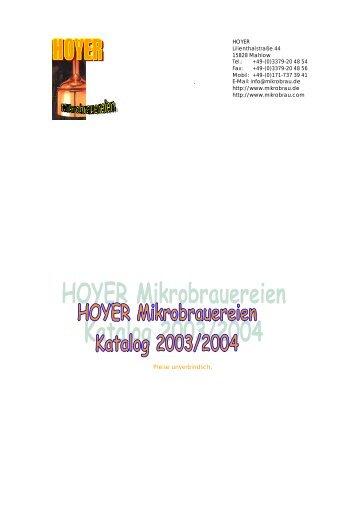 HOYER Katalog 2003 - Mikrobrauereien ab 20 l | Edelstahl ...
