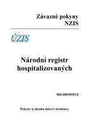 Národní registr hospitalizovaných (verze 002-20070101/2) - ÚZIS ČR