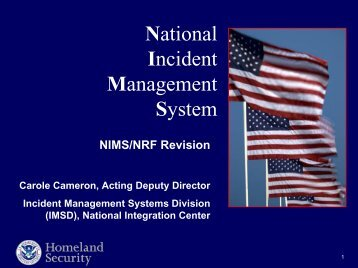 NIMS and NRF Revisions - U.S. National Response Team (NRT)