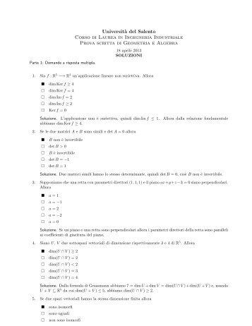 Prova scritta del 18 aprile 2013, testo e soluzioni