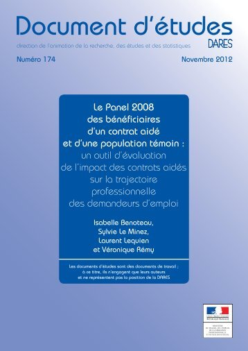 DE2012-174 - Le Panel 2008 des bénéficiaires d'un contrat aidé et ...