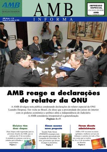 AMB reage a declarações de relator da ONU