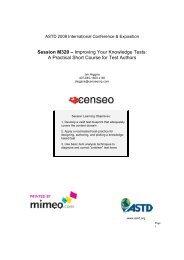 M320 - Improving Your Knowledge Tests - ASTD 2008 International ...