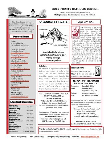April 28, 2013 Bulletin - Holy Trinity Parish