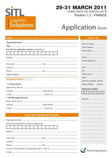 Application form for a co-exhibitor