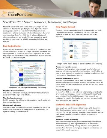 SharePoint 2010 Search: Relevance, Refinement, and ... - Gig Werks