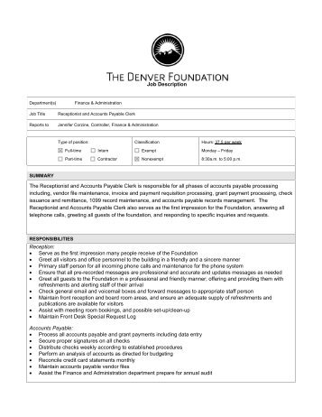Job Description Accounts Receivable Clerk
