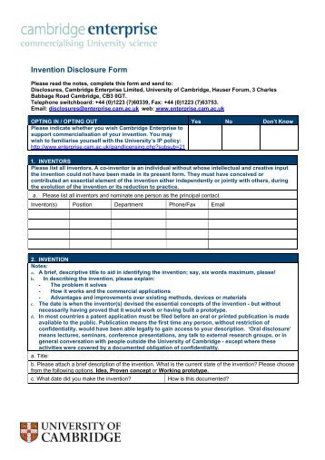 Instructions for Submitting Online Invention Disclosure Form