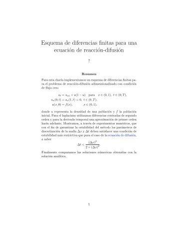 Esquema de diferencias finitas para una ecuación de reacción ...