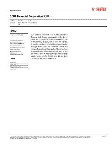 SCBT Financial Corporation SCBT(NAS) Profile Profile