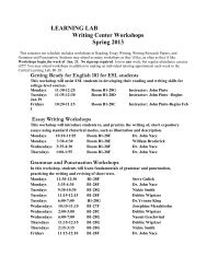 LEARNING LAB Writing Center Workshops Spring 2013