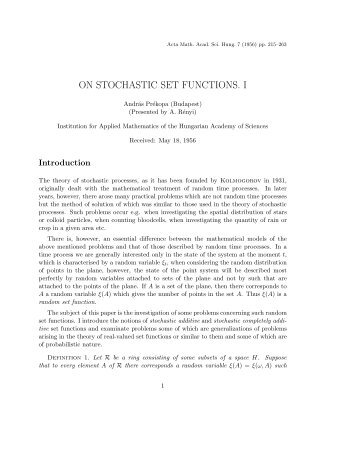 On Stochastic Set Functions I. Acta Math. Acad. Sci. Hung. 7 ... - Rutcor
