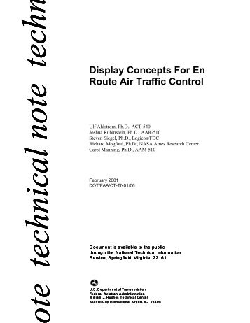 Display Concepts For En Route Air Traffic Control - FAA Human ...