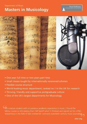 Music: Musicology - Royal Holloway, University of London