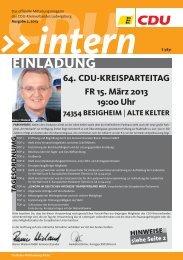 CDU Intern Ausgabe Februar 2013 - CDU Kreisverband Ludwigsburg