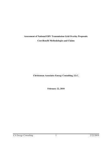 Assessment of National EHV Transmission Grid Overlay Proposals