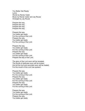 You Better Get Ready Lyrics Words by Randy ... - PraiseGathering