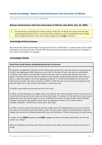Oracle Knowledge : Banner Peak Performance info from Univ ... - ITEC