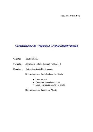 ENSAIOS ARGAMASSA AC III - BAUTECH KOLL.pdf - Impercia.com.br