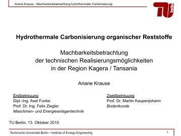 Hydrothermale Carbonisierung - Ingenieure ohne Grenzen