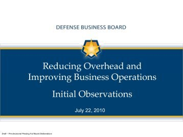 Reducing Overhead and Improving Business Operations Initial ...