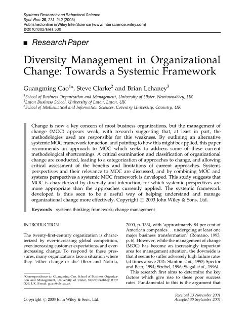 Diversity management in organizational change: towards a systemic ...