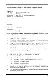Contract on Cooperation in Registration of Domain Names - Cz.NIC