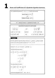 Further Pure Revision Summary - Mr Barton Maths