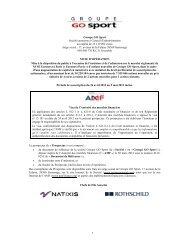 1 Groupe GO Sport Société anonyme à Conseil d'administration au ...