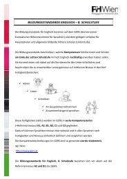BILDUNGSSTANDARDS ENGLISCH – 8. SCHULSTUFE