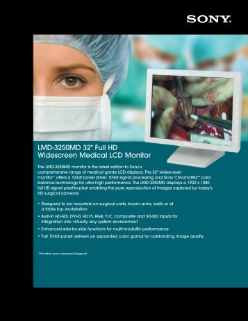 "LMD-3250MD 32"" Full HD Widescreen Medical LCD Monitor - Sony"