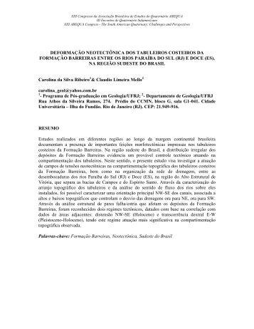 deformação neotectônica dos tabuleiros costeiros da ... - ABEQUA