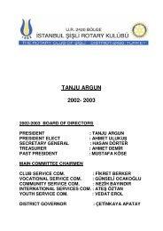TANJU ARGUN 2002- 2003 - Şişli Rotary Kulübü