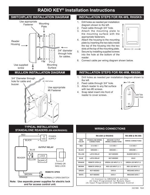 radio key� installation instructions � secura key Un iMac Washer Wiring Diagram
