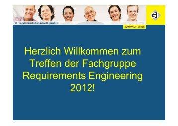 Fachgruppen-Interna - Fachgruppe Requirements Engineering - Gi