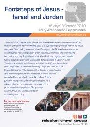 Footsteps of Jesus - Israel and Jordan - Mission Travel