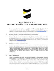 """ČESKÁ REPUBLIKA PRAVIDLA SOUTĚŽE """"ŠANCE - Nike"""