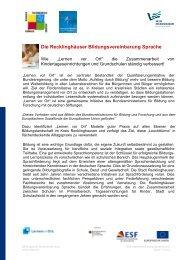 Die Recklinghäuser Bildungsvereinbarung Sprache - Metropole Ruhr