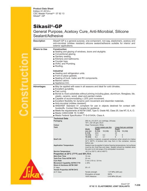 Sikasil®-GP - Sika Canada