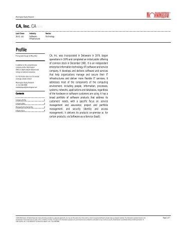 CA, Inc. CA(NAS) Profile Profile