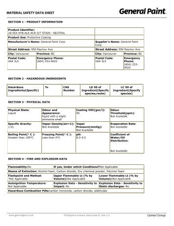 SECTION 1 - PRODUCT INFORMATION Product ... - General Paint