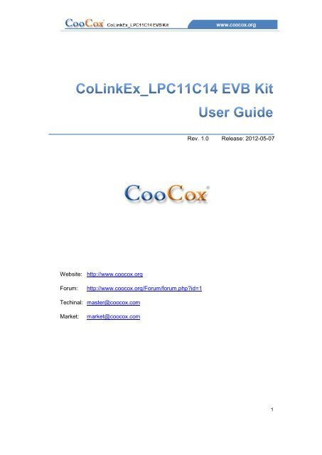 User manual for the board - CooCox