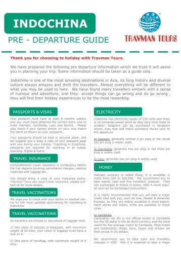 Pre departure pack about Indochina Travel ... - Travman Tours
