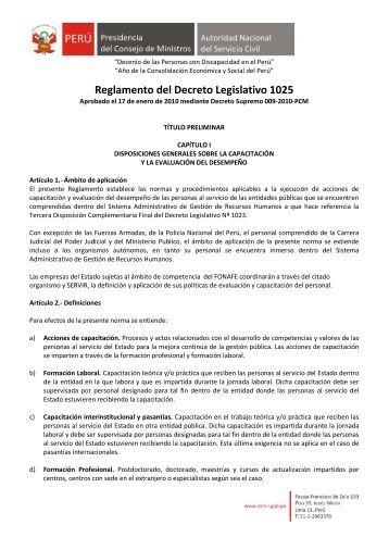 Reglamento del Decreto Legislativo 1025 - Servir
