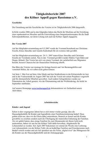 Jahresbericht 2007 - Kölner Appell gegen Rassismus