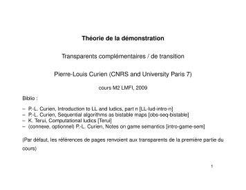 Théorie de la démonstration Transparents complémentaires ... - PPS