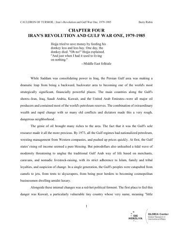 chapter four iran's revolution and gulf war one ... - GLORIA Center