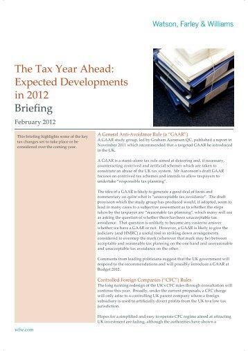 The Tax Year Ahead - Watson, Farley & Williams
