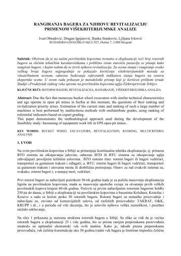 Ocena stanja bagera i njihovo višetratibutno rangiranje u cilju ...