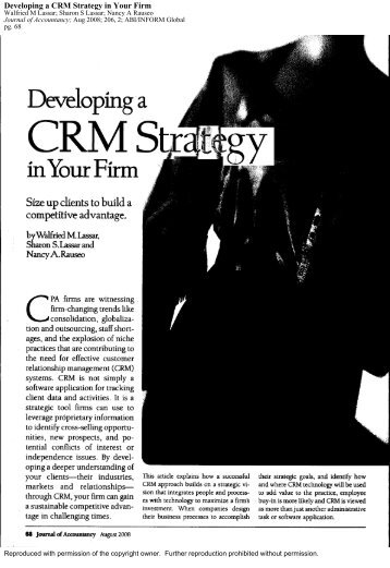 Developing a CRM Strategy in Your Firm